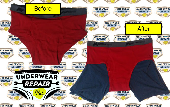 before and after shot of briefs now with boxer thighs