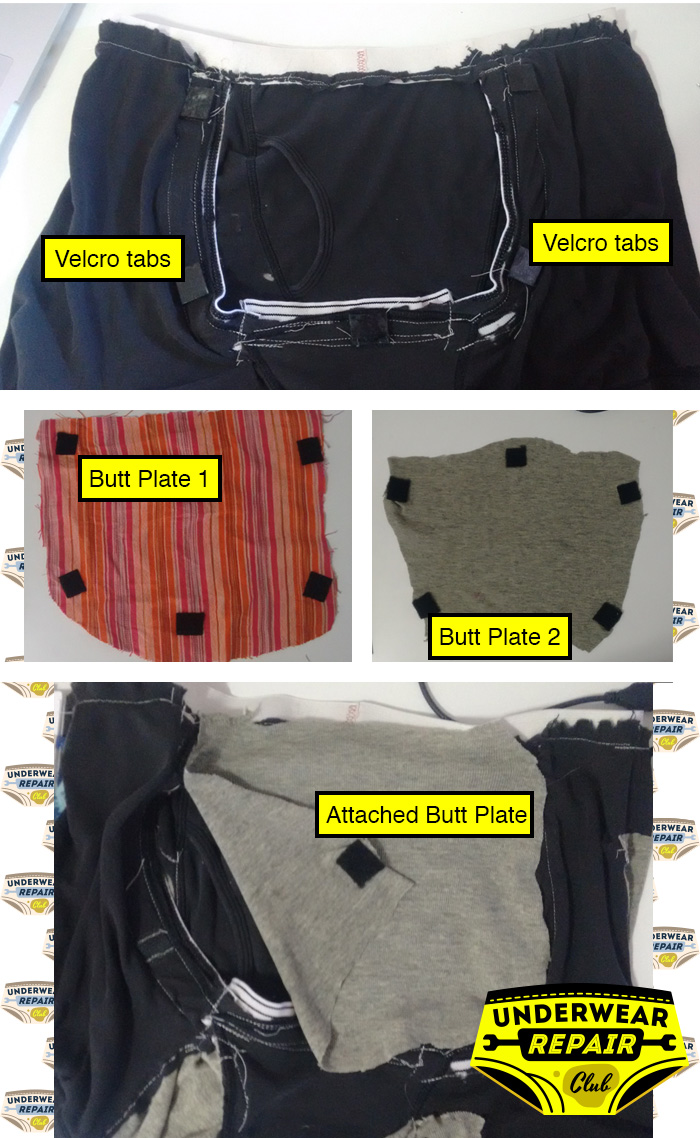 attaching velcro to jordache underwear butt seams, so as to attach different reclaimed butt plates