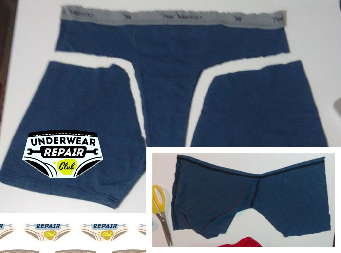 reclaimed underwear with thighs removed
