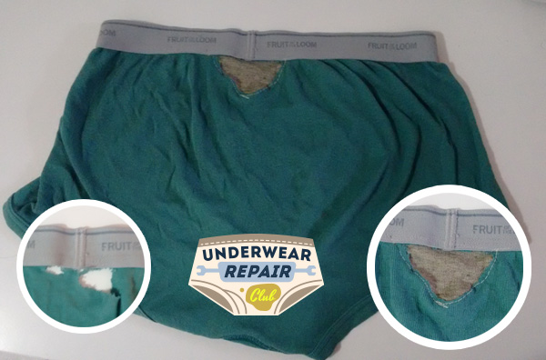 patched up underwear using reclaimed underwear