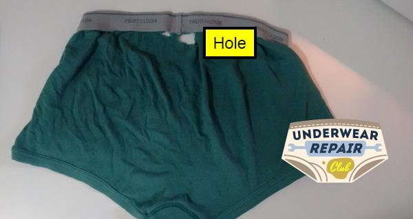 hole in underwear near waistband