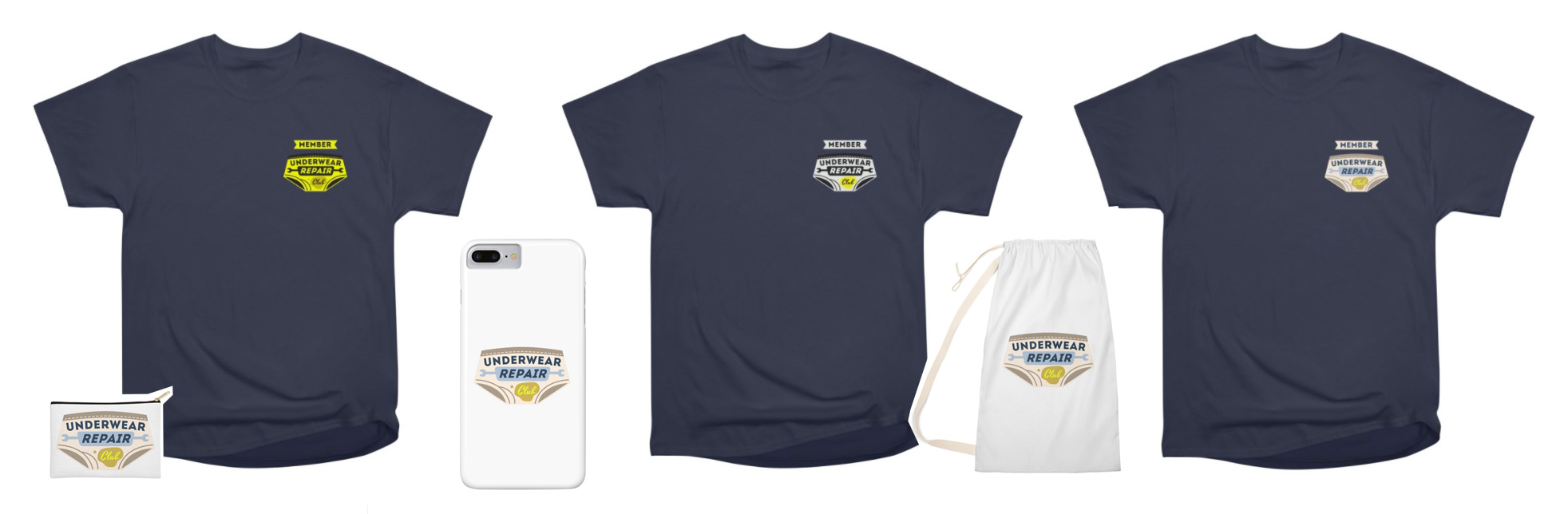 underwear repair club merchandiese: iphone cases, zip pouches, laundry bags, t-shirts