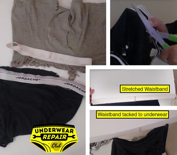 refurbished underwear waistband tacked onto foam board