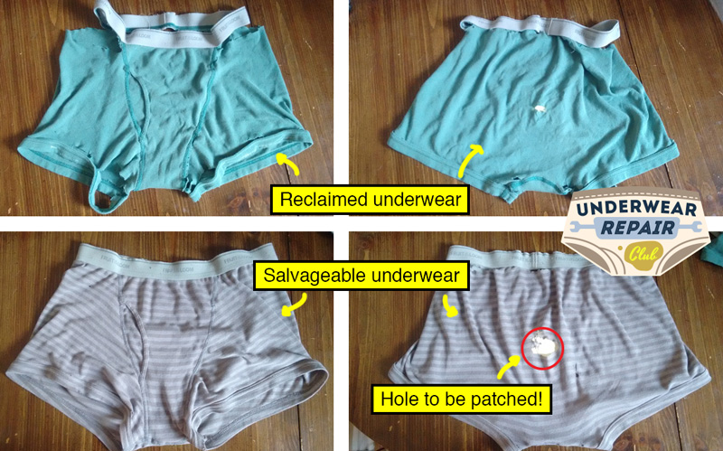 Comparing the reclaimed underwear to be used for the Shamrock patch for the hole in the damaged underwear buttplate
