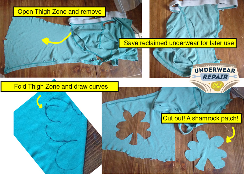 Remove thigh zone from reclaimed Fruit of the loom underwear. Fold thigh zone, draw 3 testicle shapes, cut to reveal a shamrock shape