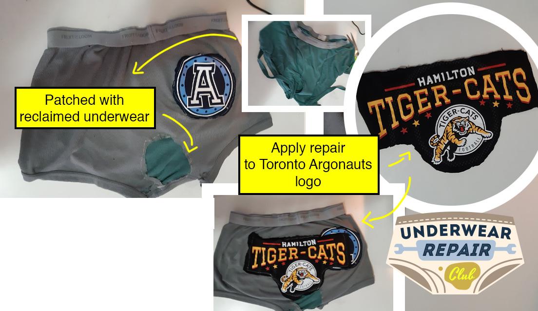 toronto argonaut underwear repair, Argo patch replaced with Hamilton ticat logo